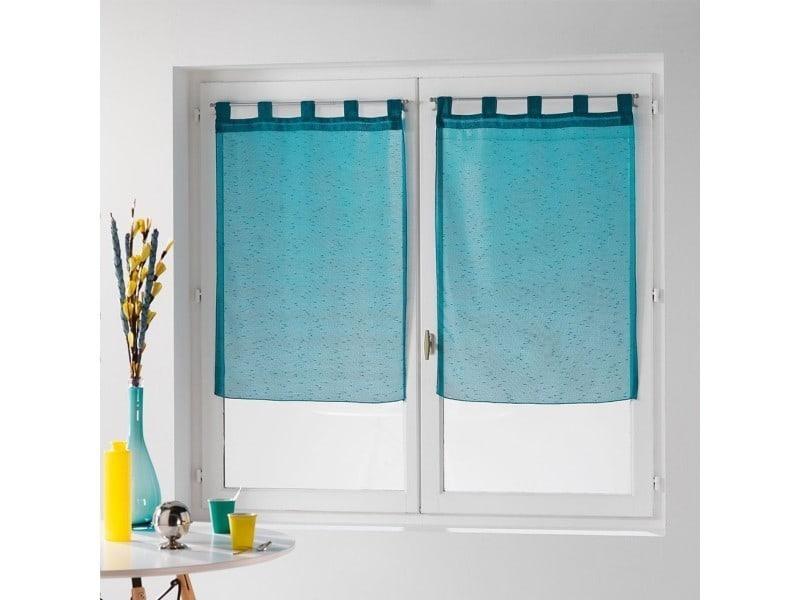 Une paire de rideau voilage 60 x 160 cm coupe dandy bleu turquoise ...