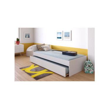 lit gigogne podium 90x190 avec t te de lit tiroir lit 2 sommiers blanc 23799t vente de. Black Bedroom Furniture Sets. Home Design Ideas