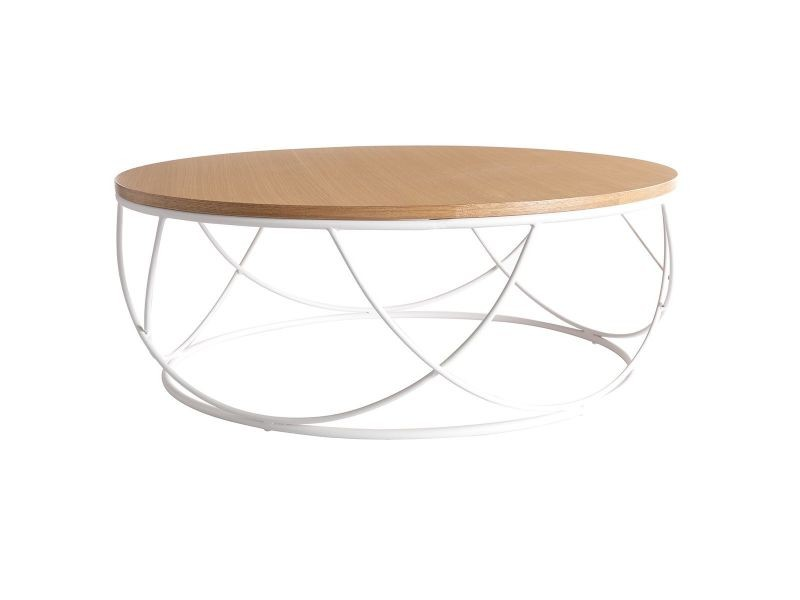 Table basse ronde bois et métal blanc d80 x h30 cm lace ...