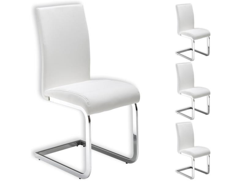 Perfect lot de chaises de salle manger leticia blanc vente for Chaises noires conforama
