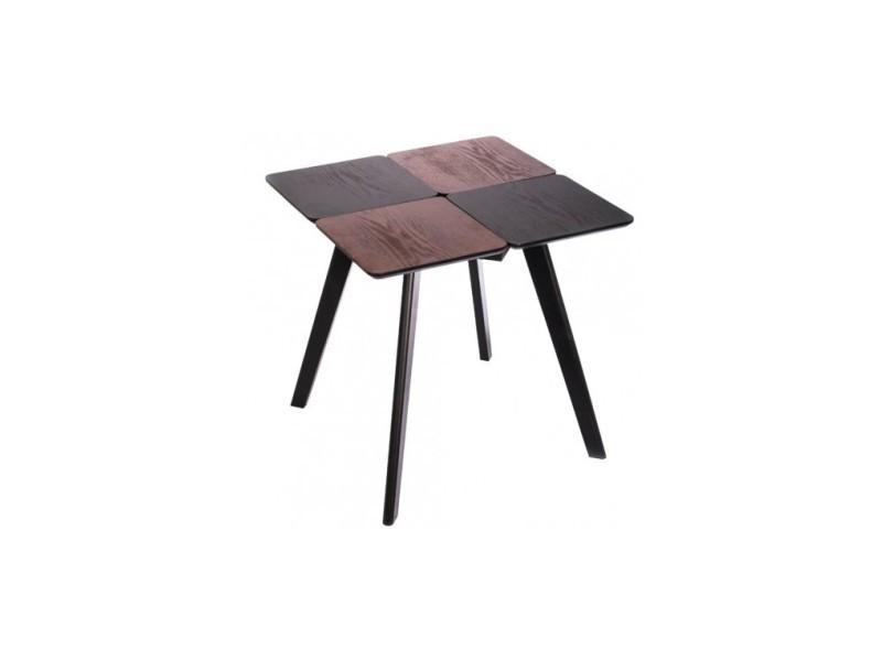 Table d'appoint design carrée bois damier