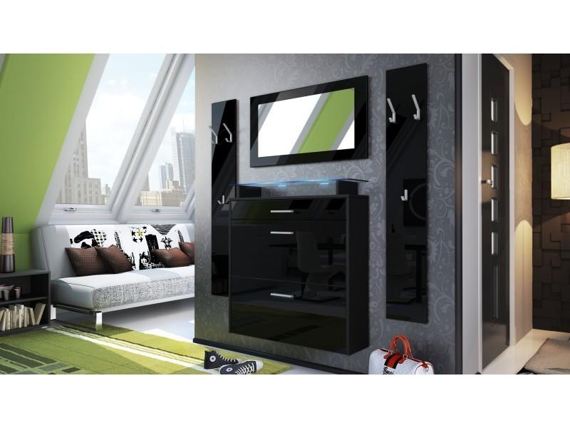 Ensemble d'entrée design meuble à chaussures penderie miroir laqué noir 40000105