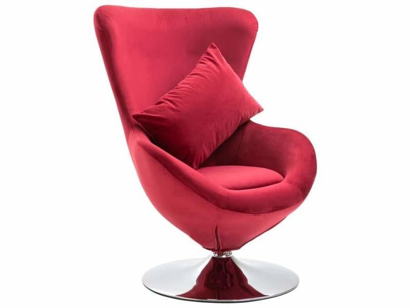 Fauteuil chaise siège lounge design club sofa salon pivotant en forme d'œuf avec coussin rouge velours helloshop26 1102199/3