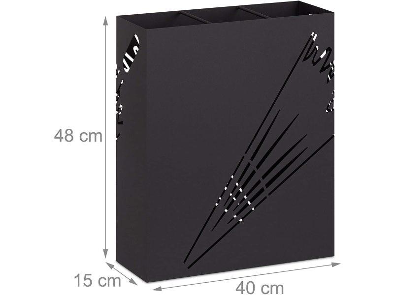 Grand porte-parapluie rectangulaire acier design noir helloshop26 13_0002210_2