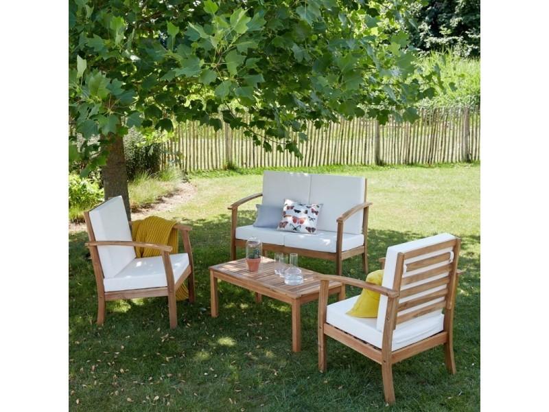 Salon de jardin en bois d\'acacia fsc 4 places - Vente de Salon de ...