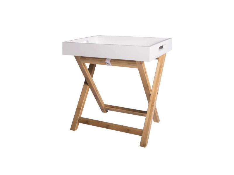 Easy table d'appoint avec plateau amovible - blanc - l 40 x p 30 x h 42 cm HTV19720
