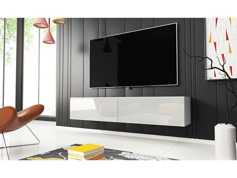 Meuble tv - KANE - 140 cm - blanc mat / blanc brillant
