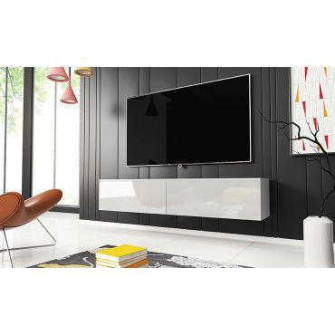 Meuble Tv Kane 140 Cm Blanc Mat Blanc Brillant Vente De Meuble Tv Conforama