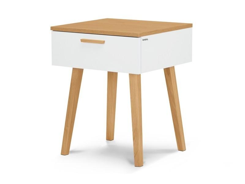 Frili | table de chevet style scandinave | 48x60x46 cm | pieds en bois massif + 1 tiroir | table d'appoint design nordique - blanc/chêne