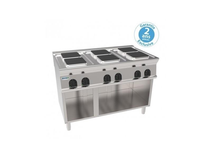 Plaque de cuisson électrique sur placard ouvert - 6 plaques carrées 15,6 kw - gamme 700 - tecnoinox -