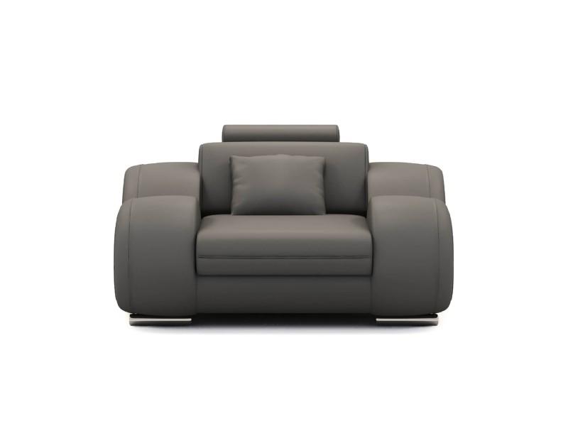 Dydda - fauteuil relax en cuir gris