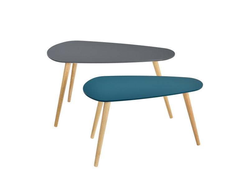 en.casa]® table de salon en kit de 2 gris et turquoise pieds de ...