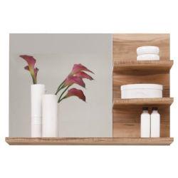 Miroir meuble de salle de bain noyer finition satinée lxhxp 72 x 57 x 20 cm