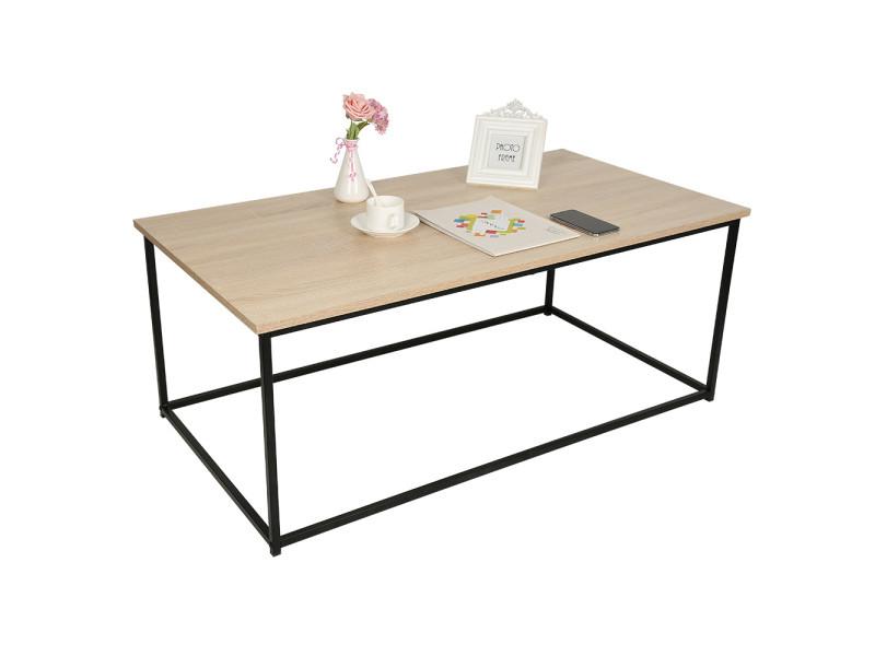 Table basse design industriel bois et métal hombuy noir