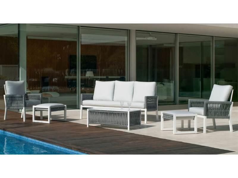 Ensemble salon de jardin haut de gamme havan 10 en aluminium blanc/cordage gris anais blanc, hev31869 31869