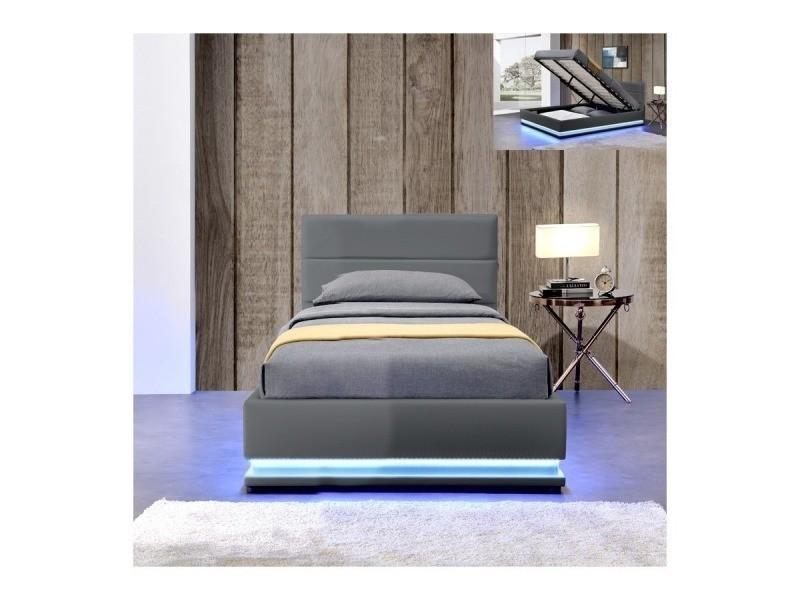 lit led avec coffre de rangement ava gris 90x190. Black Bedroom Furniture Sets. Home Design Ideas