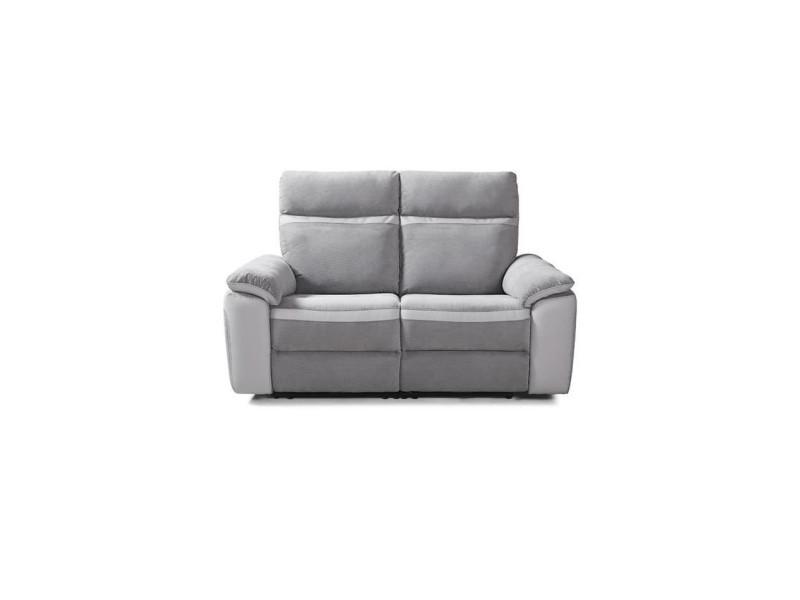 Canapé 2 places relax électrique - simili blanc et tissu gris - l 156 x p 93 x h 99 cm - santos LUSANTOS37E2TSGB