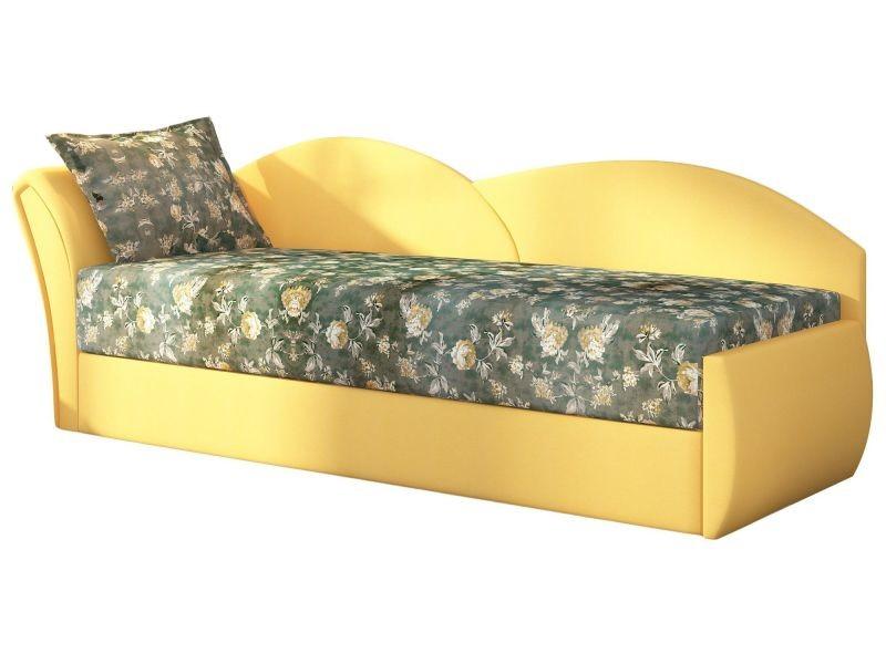 Canapé Convertible 2 Places En Tissu Jaune Et Vert Avec Coffre De
