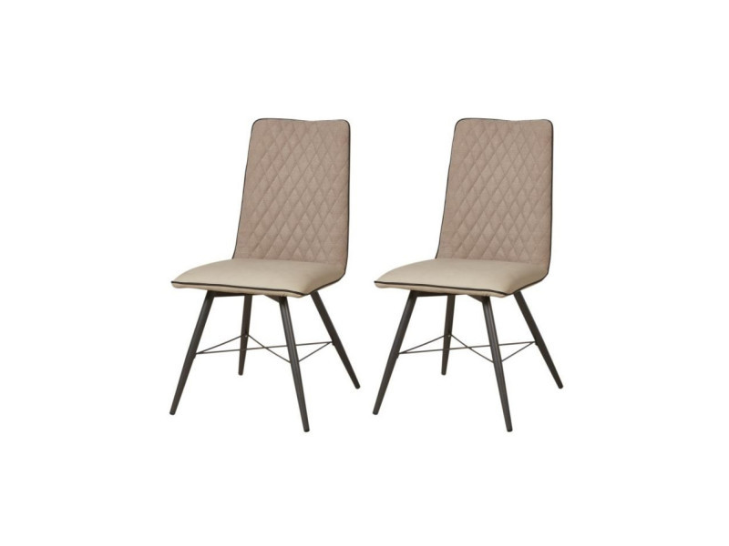 Shimone lot de 2 chaises de salle a manger en métal - simili et tissu - taupe - contemporain - l 46 x p 44 cm