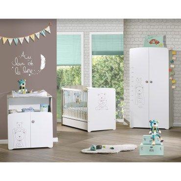 Chambre bébé trio lit bébé 9x9 et commode 9 portes et armoire  teddy-Q19045949