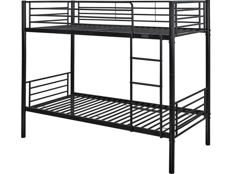 lit superpos adam m tal noir vente de habitat et jardin conforama. Black Bedroom Furniture Sets. Home Design Ideas