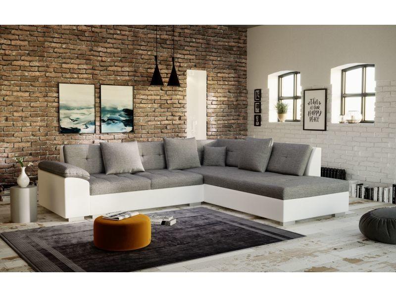 Canapé d'angle tanos gris et blanc moderne - angle droit