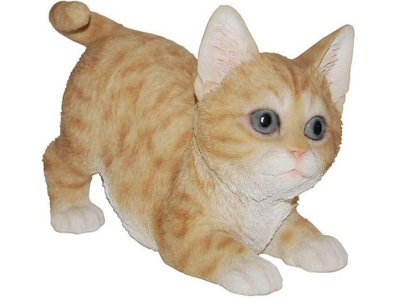 Statue de jardin chaton bondissant en résine 18.7 cm
