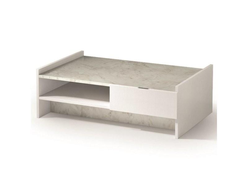 Table basse design marvel blanche plateau en marbre éclairage led intégré 20100878675