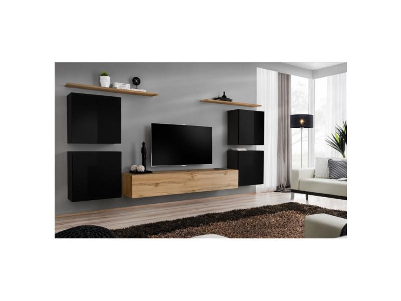 Ensemble mural - switch iv - 1 vitrine - 1 banc tv - 2 étagères - bois et noir - modèle 2