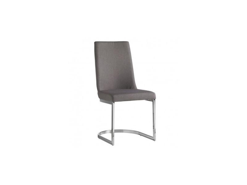 Chaise design grise et chrome round