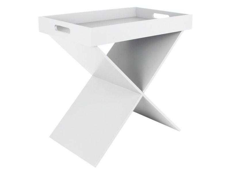 Prak - table d'appoint blanche plateau amovible