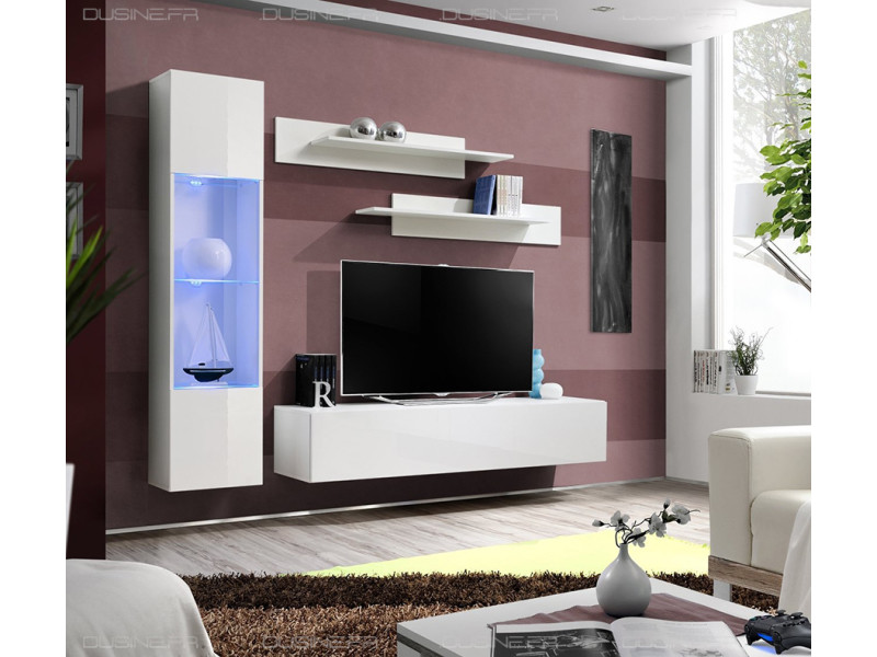 Meuble neuf tv laqué design neo suspendu led blanc/blanc