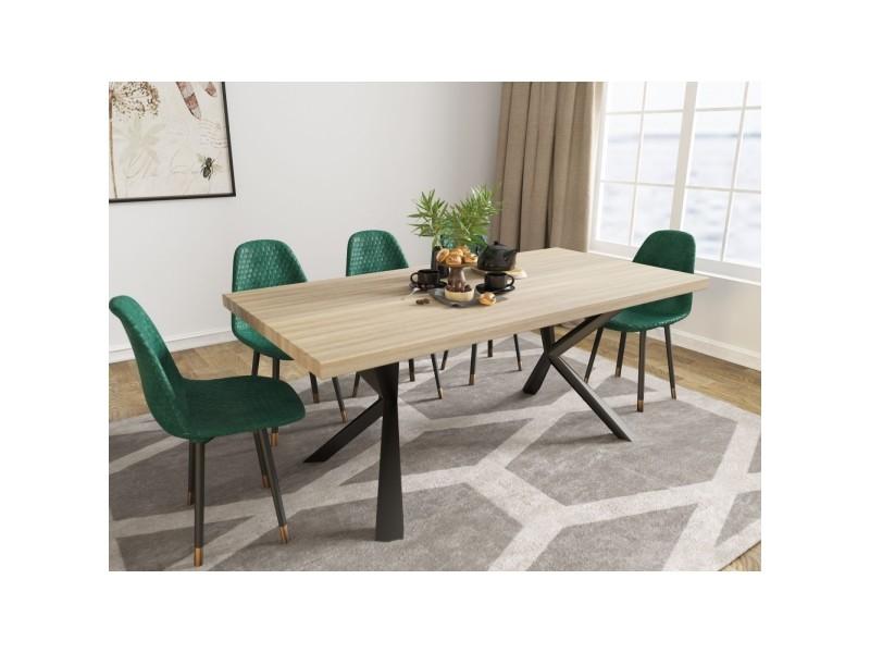Louane - table à manger en bois et métal piétement design 6 personnes