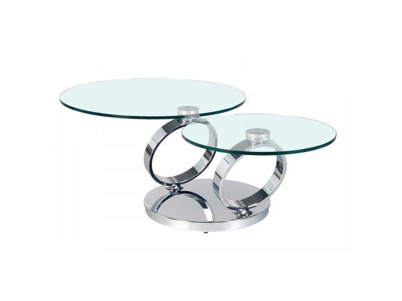 Table ring à plateaux pivotants en verre et acier chromé 20100860909