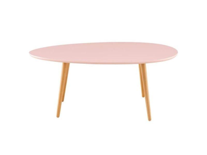 Table basse stone table basse ovale scandinave rose pastel laqué - l 98 x l 61 cm