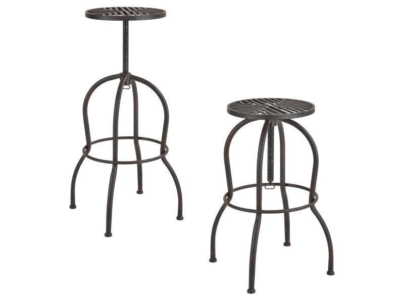 tabouret de bar kit de 2 m tal marron patine. Black Bedroom Furniture Sets. Home Design Ideas