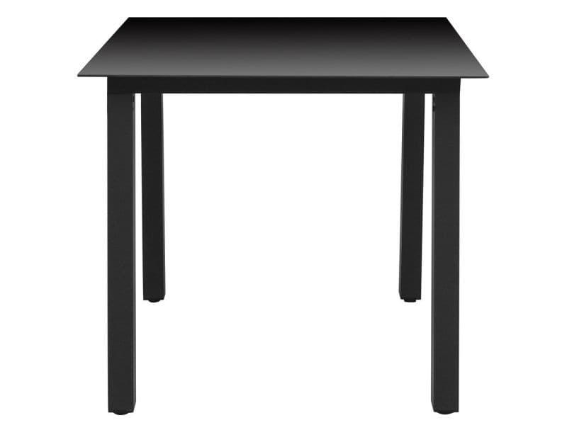 Icaverne - tables d'extérieur ligne table à manger de jardin verre aluminium noir 80 x 80 x 74 cm