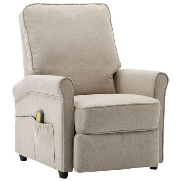 Vidaxl fauteuil électrique de massage crème tissu 248669