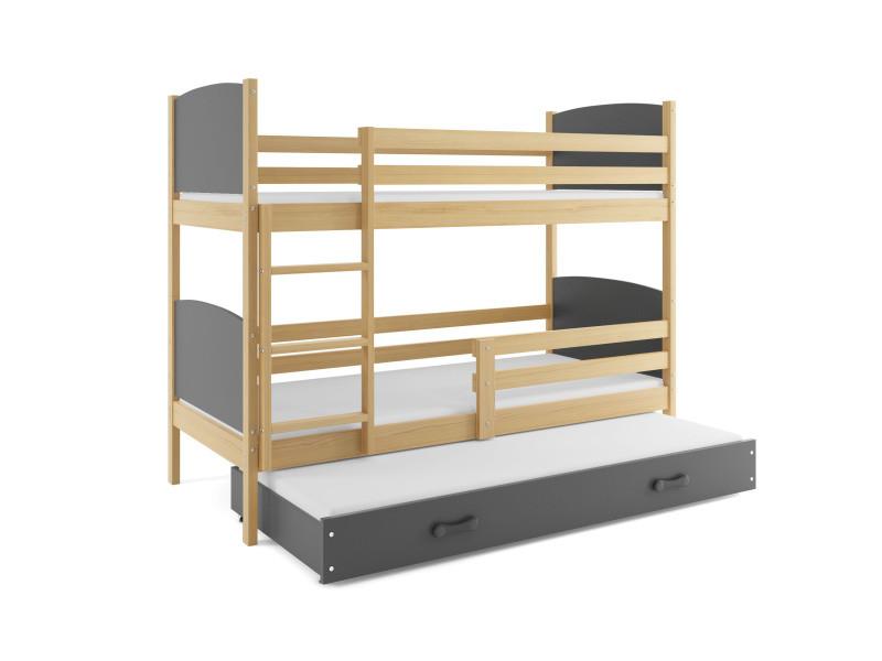 lit superposé tami 3 places 190x90 avec 3 matelas de