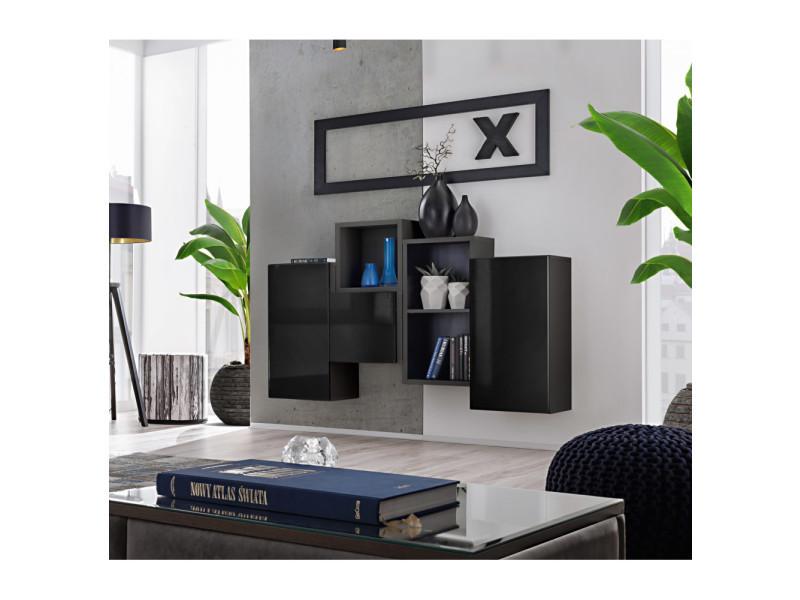 Ensemble de rangement mural - blox sb iii - 4 rangements verticaux - noir