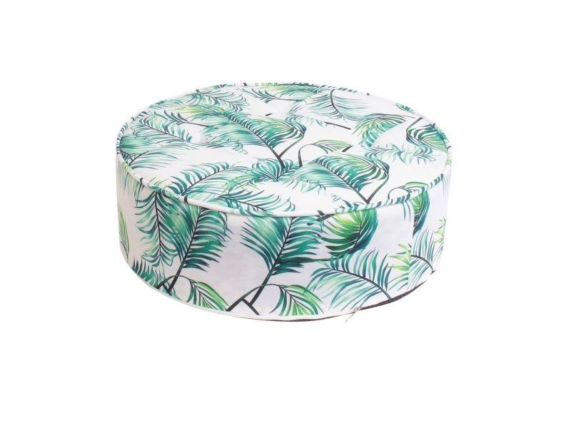 Coussin de sol rond tropical - diam. 50 cm - vert