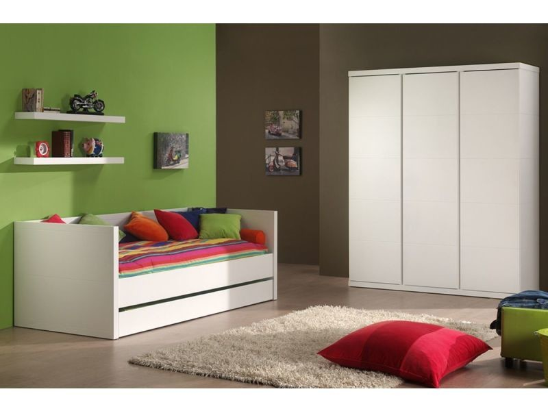 b88c2f8946099 Ensemble 4 pièces pour chambre à coucher moderne pour enfant avec lit  banquette 90x200 cm