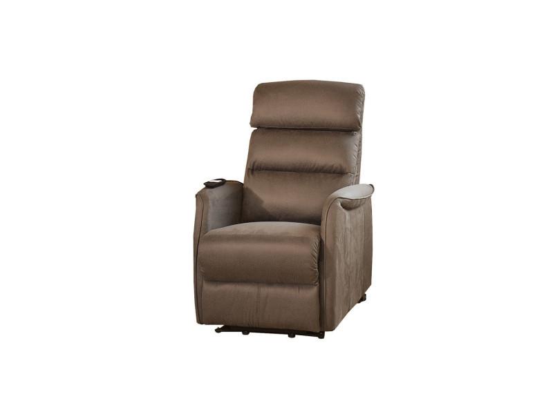 Fauteuil relax releveur électrique marron cendré - softy - l 78 x l 90-160 x h 80-140 - neuf
