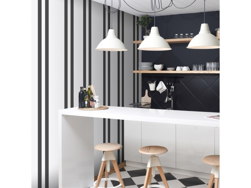 Papier peint intissé rayures basic 1005 x 52cm blanc, noir 32-620