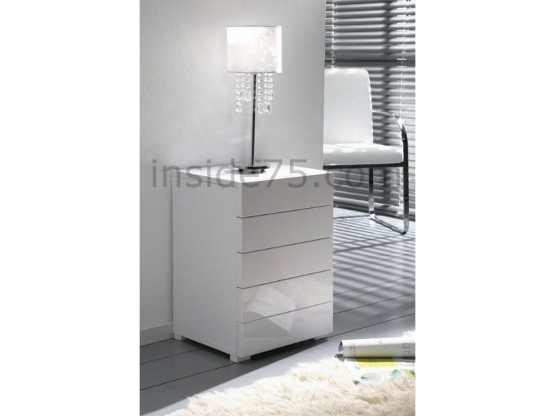 White chevet 5 tiroirs laqué blanc design 20100827773