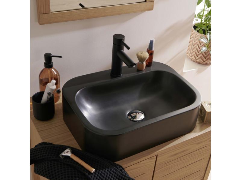 Vasque salle de bain à poser en résine de synthèse noire ...