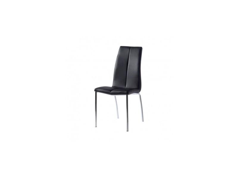 Chaise design effet cuir noir et chrome leaf
