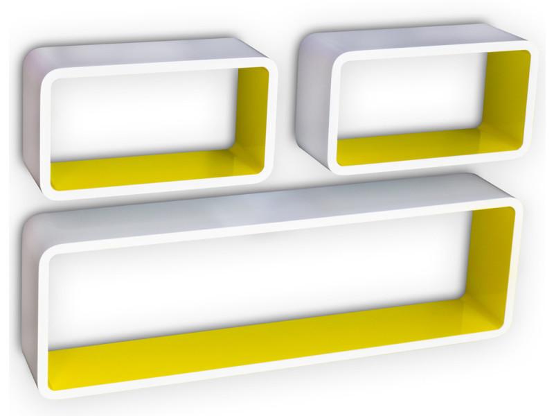 Etagère cube murale de 3 pièces, coloris blanc et jaune -pegane-