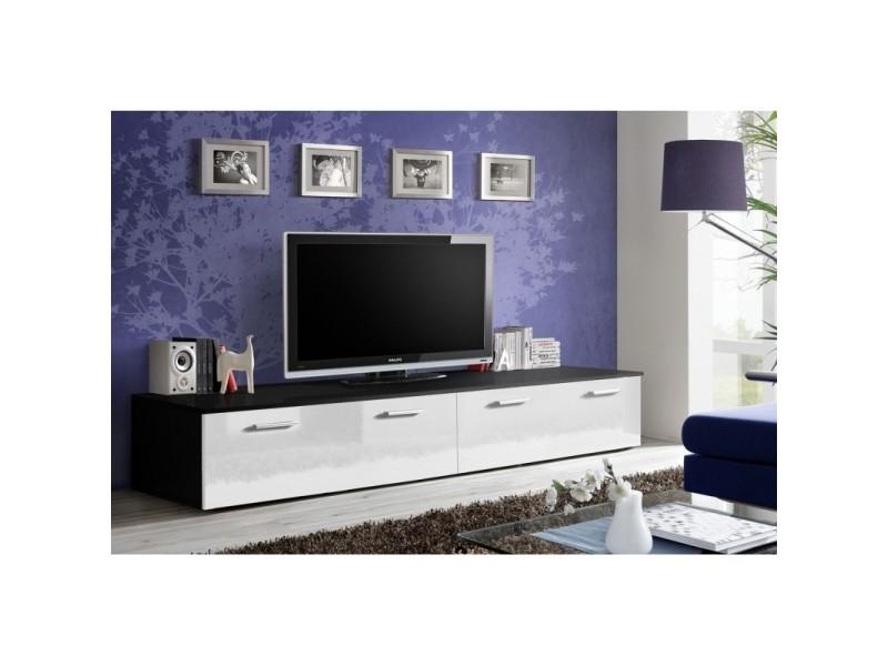 Banc tv - duo - 200 cm x 35 cm x 45 cm - noir et blanc