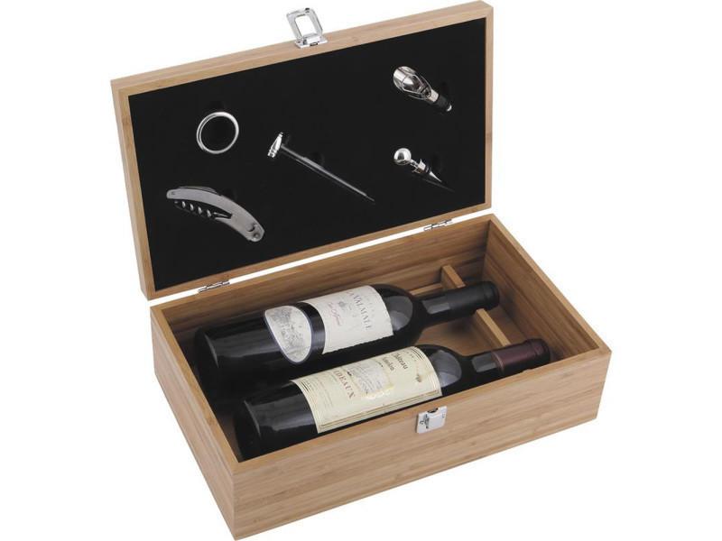 Coffret à bouteilles de vin + 5 accessoires - dim : 36,5 x 21,5 x 11,5 cm -pegane-